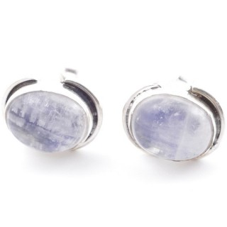 58514-05 SILVER 925 12 x 9 MM POST EARRINGS WITH STONE IN MOONSTONE