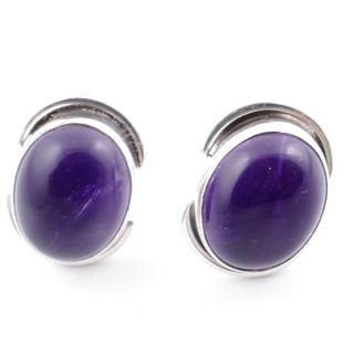 58514-06 SILVER 925 12 x 9 MM POST EARRINGS WITH STONE IN AMETHYST
