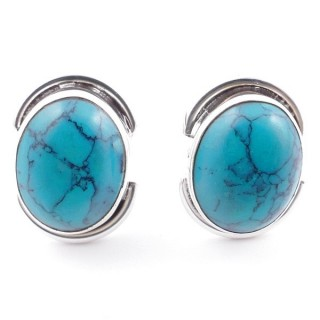 58514-07 SILVER 925 12 x 9 MM POST EARRINGS WITH STONE IN TURQUOISE