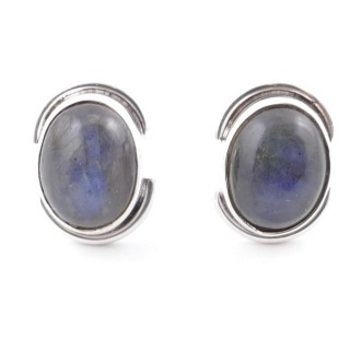58514-08 SILVER 925 12 x 9 MM POST EARRINGS WITH STONE IN LABRADORITE