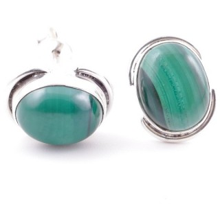 58514-10 SILVER 925 12 x 9 MM POST EARRINGS WITH STONE IN MALACHITE