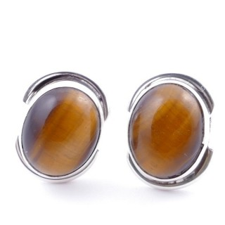 58514-11 SILVER 925 12 x 9 MM POST EARRINGS WITH STONE IN TIGER'S EYE