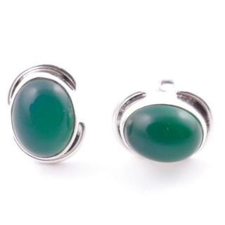 58514-16 SILVER 925 12 x 9 MM POST EARRINGS WITH STONE IN GREEN AVENTURINE