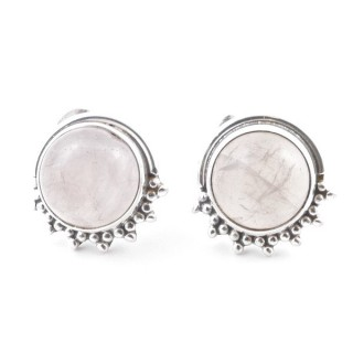 58515-01 SILVER 925 11 X 13 MM POST EARRINGS WITH STONE IN ROSE QUARTZ