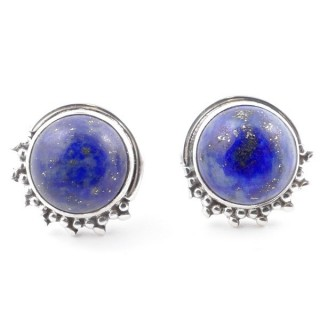 58515-02 SILVER 925 11 X 13 MM POST EARRINGS WITH STONE IN LAPIS LAZULI