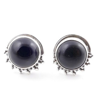 58515-04 SILVER 925 11 X 13 MM POST EARRINGS WITH STONE IN ONYX