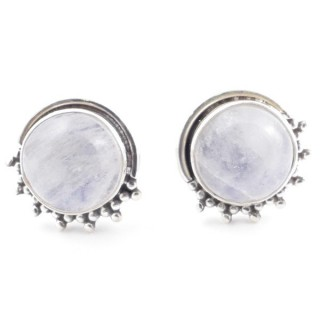 58515-05 SILVER 925 11 X 13 MM POST EARRINGS WITH STONE IN MOONSTONE