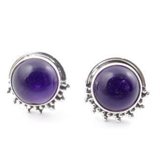 58515-06 SILVER 925 11 X 13 MM POST EARRINGS WITH STONE IN AMETHYST