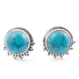 58515-07 SILVER 925 11 X 13 MM POST EARRINGS WITH STONE IN TURQUOISE