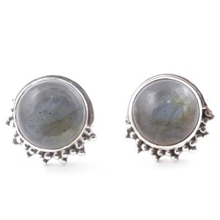58515-08 SILVER 925 11 X 13 MM POST EARRINGS WITH STONE IN LABRADORITE