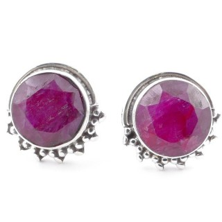 58515-09 SILVER 925 11 X 13 MM POST EARRINGS WITH STONE IN FACETED RUBY