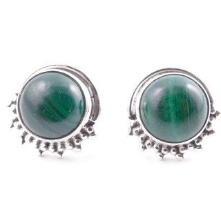 58515-10 SILVER 925 11 X 13 MM POST EARRINGS WITH STONE IN MALACHITE
