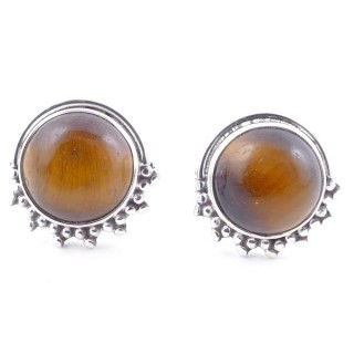 58515-11 SILVER 925 11 X 13 MM POST EARRINGS WITH STONE IN TIGER'S EYE