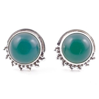 58515-16 SILVER 925 11 X 13 MM POST EARRINGS WITH STONE IN GREEN AVENTURINE