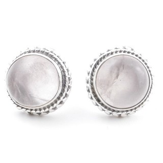 58516-01 SILVER 925 11 MM POST EARRINGS WITH STONE IN ROSE QUARTZ