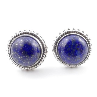 58516-02 SILVER 925 11 MM POST EARRINGS WITH STONE IN LAPIS LAZULI