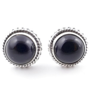 58516-04 SILVER 925 11 MM POST EARRINGS WITH STONE IN ONYX