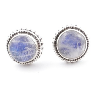 58516-05 SILVER 925 11 MM POST EARRINGS WITH STONE IN MOONSTONE