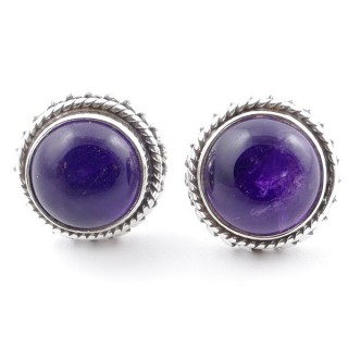 58516-06 SILVER 925 11 MM POST EARRINGS WITH STONE IN AMETHYST