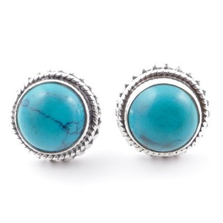 58516-07 SILVER 925 11 MM POST EARRINGS WITH STONE IN TURQUOISE