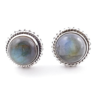 58516-08 SILVER 925 11 MM POST EARRINGS WITH STONE IN LABRADORITE