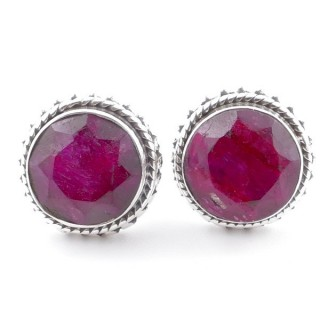 58516-09 SILVER 925 11 MM POST EARRINGS WITH STONE IN FACETED RUBY