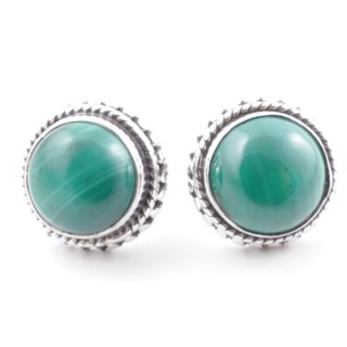 58516-10 SILVER 925 11 MM POST EARRINGS WITH STONE IN MALACHITE