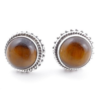 58516-11 SILVER 925 11 MM POST EARRINGS WITH STONE IN TIGER'S EYE