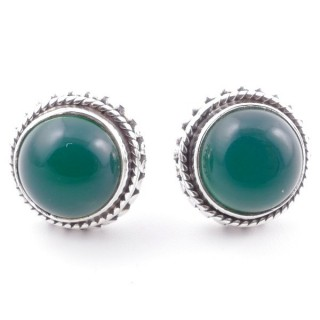 58516-16 SILVER 925 11 MM POST EARRINGS WITH STONE IN GREEN AVENTURINE