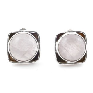 58517-01 SILVER 925 10 MM POST EARRINGS WITH STONE IN ROSE QUARTZ