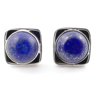 58517-02 SILVER 925 10 MM POST EARRINGS WITH STONE IN LAPIS LAZULI