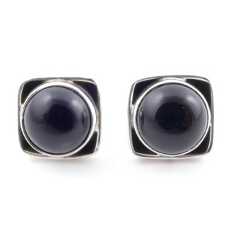 58517-04 SILVER 925 10 MM POST EARRINGS WITH STONE IN ONYX