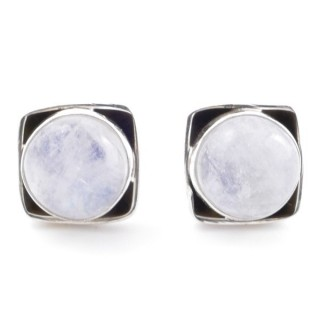 58517-05 SILVER 925 10 MM POST EARRINGS WITH STONE IN MOONSTONE
