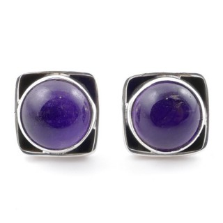 58517-06 SILVER 925 10 MM POST EARRINGS WITH STONE IN AMETHYST