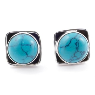 58517-07 SILVER 925 10 MM POST EARRINGS WITH STONE IN TURQUOISE