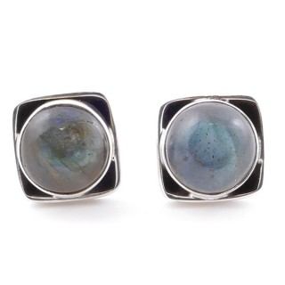 58517-08 SILVER 925 10 MM POST EARRINGS WITH STONE IN LABRADORITE