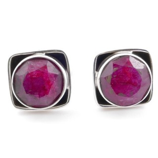 58517-09 SILVER 925 10 MM POST EARRINGS WITH STONE IN FACETED RUBY
