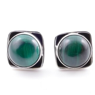 58517-10 SILVER 925 10 MM POST EARRINGS WITH STONE IN MALACHITE