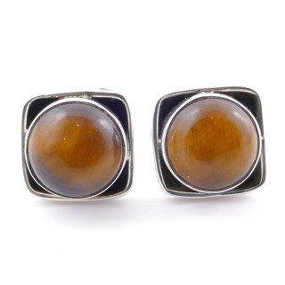 58517-11 SILVER 925 10 MM POST EARRINGS WITH STONE IN TIGER'S EYE