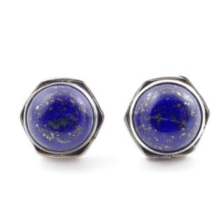 58518-02 SILVER 925 9 MM POST EARRINGS WITH STONE IN LAPIS LAZULI