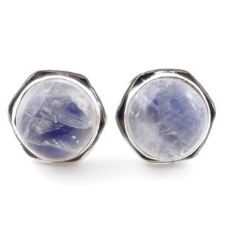 58518-05 SILVER 925 9 MM POST EARRINGS WITH STONE IN MOONSTONE