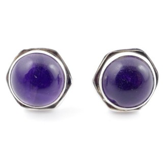 58518-06 SILVER 925 9 MM POST EARRINGS WITH STONE IN AMETHYST