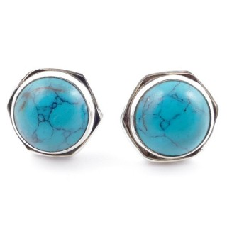 58518-07 SILVER 925 9 MM POST EARRINGS WITH STONE IN TURQUOISE
