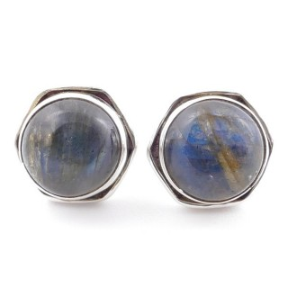 58518-08 SILVER 925 9 MM POST EARRINGS WITH STONE IN LABRADORITE