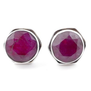 58518-09 SILVER 925 9 MM POST EARRINGS WITH STONE IN FACETED RUBY