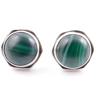 58518-10 SILVER 925 9 MM POST EARRINGS WITH STONE IN MALACHITE