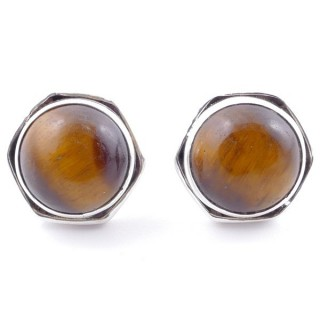 58518-11 SILVER 925 9 MM POST EARRINGS WITH STONE IN TIGER'S EYE