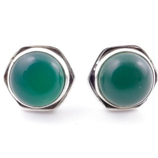 58518-16 SILVER 925 9 MM POST EARRINGS WITH STONE IN GREEN AVENTURINE