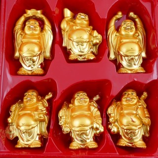 38653 SET OF 6 RESIN LAUGHING BUDDHA OF APROX. 10 CM