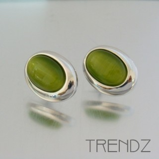 19326 CAT'S EYE RHODIUM PLATED FASHION EARRINGS